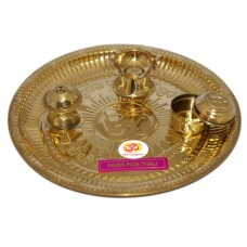 Aum Brass Pooja Thali - Prayer Tray