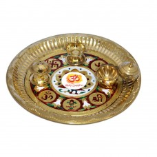 Aum Meenakari (Design) Brass Pooja Thali